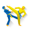 two taekwondo fighters martial arts competition vector image