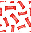 welcome ribbon hang tag seamless pattern vector image