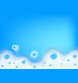 white soap foam in blue liquid backdrop vector image