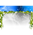 blue christmas background with mistletoe vector image