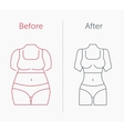 a fat and slim woman figure vector image vector image