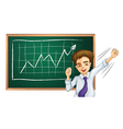 A happy businessman in front of the board vector image vector image