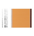 a set yellow pencils different hardness vector image vector image