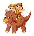 adventurer riding the saurolopus vector image vector image