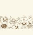 background with sketch mediterranean food vector image