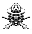 bear in scout hat and marshmallow on sticks vector image vector image