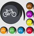 bike icon sign Symbol on eight colored buttons vector image