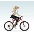 Blonde Woman Girl Female Riding a Bicycle vector image vector image