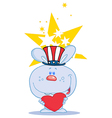 Blue USA Bunny Holding A Red Heart vector image vector image