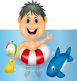 Boy cartoon floating with inflatable ring vector image vector image