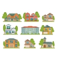 Buildings Flat Icon Set vector image