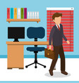 businessman in the workplace office vector image