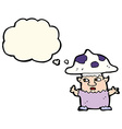 cartoon little mushroom man with thought bubble vector image vector image