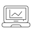 chart on laptop thin line icon computer diagram vector image vector image