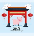 chinese year celebration with pig and cultural vector image vector image