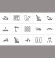 construction hand drawn sketch icon set vector image
