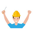construction worker with screwdriver avatar vector image vector image