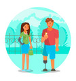 couple with leg and arm prosthetics flat vector image