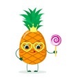 cute pineapple cartoon character with crown and vector image vector image