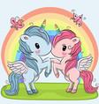 cute unicorns on a rainbow background vector image vector image