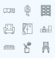 decor icons line style set with flower pot window vector image