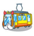 devil electric train toys in shape mascot vector image