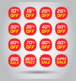 discount stickers icon set in flat style sale tag vector image