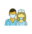 doctor and nurse on white vector image vector image