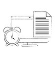 electronic document with computer and alarm vector image