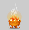 golden bowl fire isolated on a grey background vector image vector image