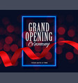 grand opening template with ribbon and bokeh vector image vector image