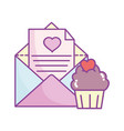 happy valentines day mail letter and cupcake vector image vector image
