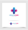 health care logo design with modern gradient vector image vector image