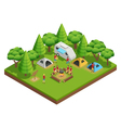 Hiking Isometric Composition vector image vector image