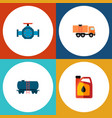 icon flat oil set of tanker fuel canister pipe vector image