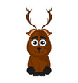 isolated cute reindeer on white background vector image vector image