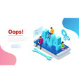 isometric error 404 page layout design the vector image vector image