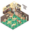 isometric fastfood restaurant interior vector image vector image