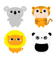 koala lion panda bear tiger ftoy icon set kawaii vector image