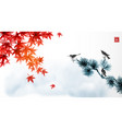 landscape with red japanese maple leaves blue vector image