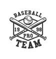 logo design baseball pro team 1998 with baseball vector image vector image