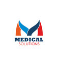 m letter icon for medical solutions vector image vector image