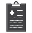 medical record line icon on white background flat vector image vector image