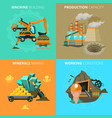 minerals mining 4 flat icons square vector image