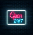 neon open 24 hours 7 days sign in geometric shape vector image vector image