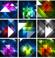 neon triangles on color dark backgrounds vector image vector image