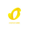 o letter yellow logo design abstract swirl vector image