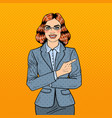 pop art successful business woman pointing finger vector image
