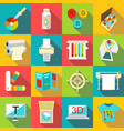 printing processes icons set flat style vector image vector image