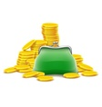 Purse and gold coins cash vector image vector image